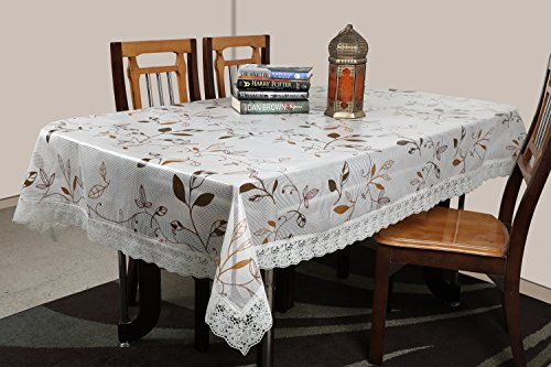 Stitchnest - Table Cover Anti Skid, Pvc, 4 Seater, Brown, Pack Of...