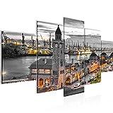 Bilder Stadt Hamburg Wandbild 200 x 100 cm Vlies - Leinwand Bild XXL Format Wandbilder Wohnzimmer Wohnung Deko Kunstdrucke Orang 5 Teilig - Made IN Germany - Fertig zum Aufhängen 603051b