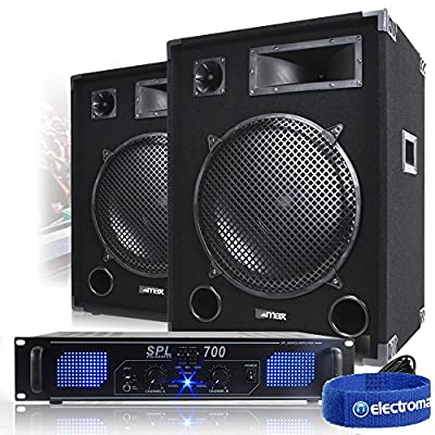 """2x Max 15"""" PA Speakers + Power Amplifier + Cable Party Disco DJ System 2000W"""