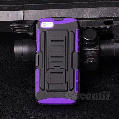 iPhone 5 / 5S / SE Coque, Cocomii [HEAVY DUTY] iPhone 5 / 5S / SE Robot Case **NOUVEAU** [ULTRA AVENIR ARMOR] Étuis De Ceinture Premium Kickstand Bumper Case [DÉFENSEUR MILITAIRES] Corps Plein Robuste Purple