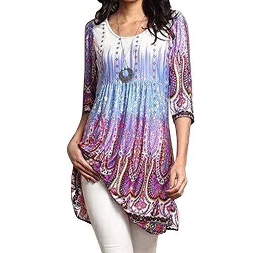 Luckiests Frauen-Mädchen-Herbst-Blumenbluse Long Top Elbow Sleeve Plus Size T-Shirt -
