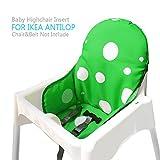Ikea Antilop Hochstuhl Sitzbezüge & Kissen von Zama, Waschbar Faltbarer Babyhochstuhl Bezug Ikea Kinder Sitz Covers Stuhlkissen (Dunkelgrün)