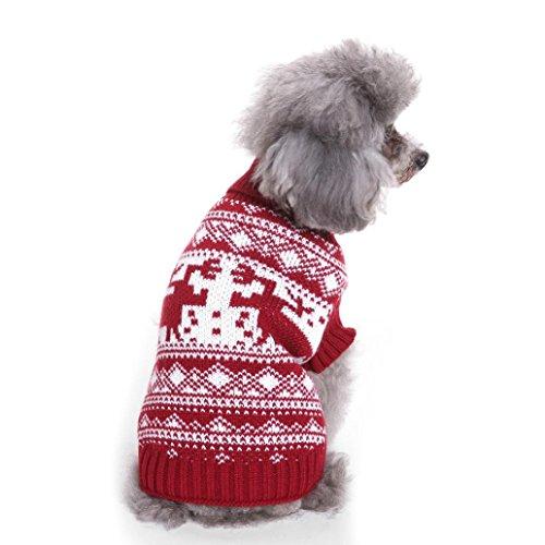 KanLin Weihnachten Haustier Kleid Puppy Festival Bequeme Pullover Strickwaren Kleidung (L, Mehrfarbig F) (Militär Kleider Ball Kleid)