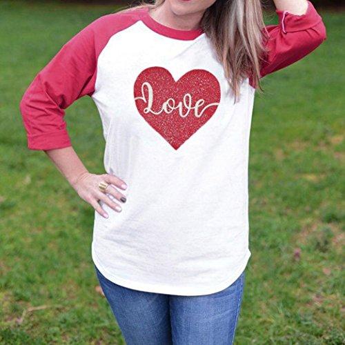 AmazingDays Femme Chemisiers T-Shirts Tops Sweats Blouses Chemise à Manches Longues Col Rond Amour Coeur Sérigraphie Chemisier white