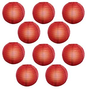 Reiki Crystal Products Lantern Paper Lamp Paper Ball Lamp Shade 12 Inch Paper Lamp for Decoration at Diwali Party Birthday Colors Red Pack of 10 pc