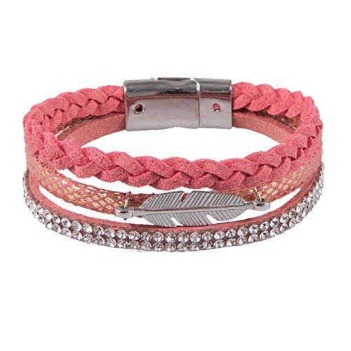 J.L.Z. Boho - Armband mit Perlen und Strass, Modell Pretty PINK, Rosa Farbtöne, Schmucksteine, toller Frauen, Mädchen und Damenschmuck, incl. Schmuckbeutel (Strass-perlen-armband-uhren)