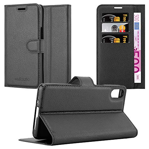 Cadorabo Hülle für BQ Aquaris X5 - Hülle in Phantom SCHWARZ - Handyhülle mit Kartenfach & Standfunktion - Case Cover Schutzhülle Etui Tasche Book Klapp Style