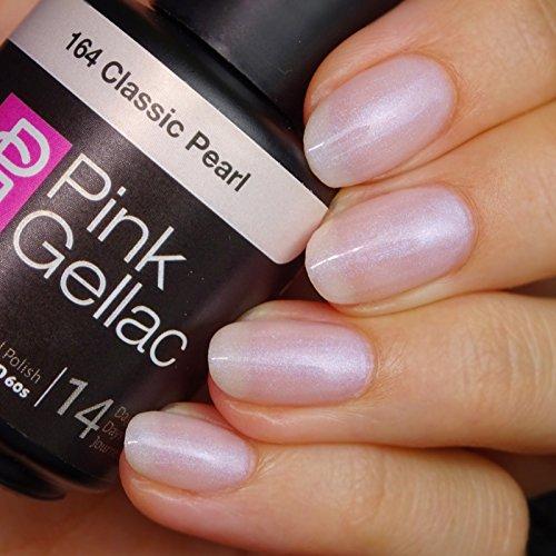 Vernis à ongles Pink Gellac 164 Classic Pearl. 15 ml gel Manucure et Nail Art pour UV LED lampe, top coat résistant shellac