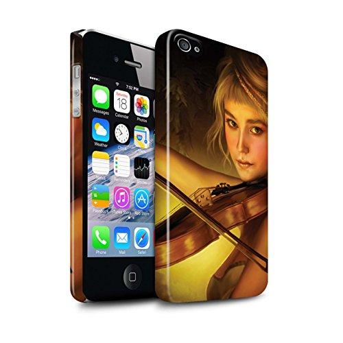 Officiel Elena Dudina Coque / Clipser Brillant Etui pour Apple iPhone 4/4S / Violoncelle/Nuages Design / Réconfort Musique Collection Beauté/Violon