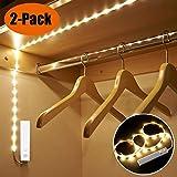 XIYUNTE LED Streifen Bewegungssensor Nachtlichter - 2 Stück Flexible Garderobenleuchte Streifen Licht, Batteriebetrieben Nachtlichter für Küche, Wandschrank, Treppe, Schublade, Kleiderschrank