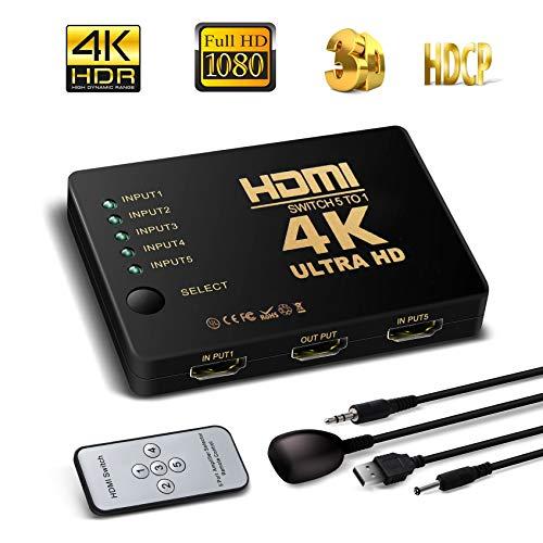 HDMI Switch unterstützt HDCP 1080p 5 in 1 Out 4 K HDMI Audio Switcher Selector Splitter Verstärker Adapter mit IR-Fernbedienung Kompatibel mit Ultra HD Auflösung für Mac PCs Xbox with a IR remote Audio Selector
