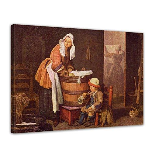 Bilderdepot24 Leinwandbild - Jean Siméon Chardin - Die Wäscherin - 40x30cm Einteilig - Alte...