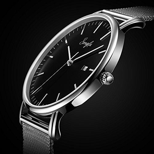 SONGDU Herren Unisex Ultra dünn Analog Quarz Schwarz Minimalistisch Armbanduhr mit Mode Datum und Edelstahl Milanese Mesh Band (Schwarz - silber)