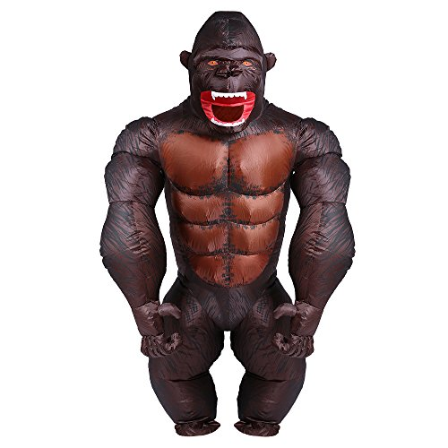 YOWESHOP - Disfraz Hinchable de Halloween para Adulto de Gorilla Orangutan Gibbon Chimp Monkey Fancy Dress Blow Up Suit