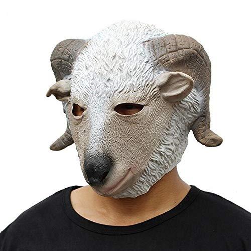 PJHGS Latex Ziege Kopf Maske Halloween Christmas Ball Partyzubehör
