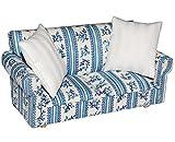 Miniatur Sofa / Couch mit 2 Kissen - für Puppenstube Maßstab 1:12 - blau & weiß gemustert - Puppenhaus / Puppenhausmöbel Sessel Wohnzimmer Klein - für Wohnzimmerlandschaft - Puppensofa - Möbel - Wohnlandschaft - Miniatur Diorama