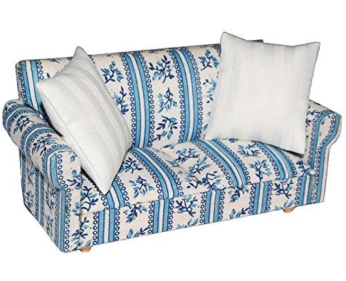 Preisvergleich Produktbild Miniatur Sofa / Couch mit 2 Kissen - für Puppenstube Maßstab 1:12 - blau & weiß gemustert - Puppenhaus / Puppenhausmöbel Sessel Wohnzimmer Klein - für Wohnzimmerlandschaft - Puppensofa - Möbel - Wohnlandschaft - Miniatur Diorama