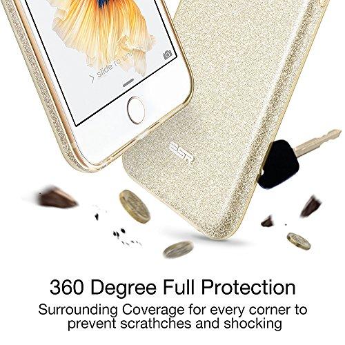 iPhone 6 / 6S Hülle (4,7 Zoll), ESR® Glitzer Schutzhülle [Weiche TPU Abdeckung + Glitzer Papier + PC innere Schicht] [Drei in Einem] Hülle für iPhone 6/6S (Rosygold) Lila