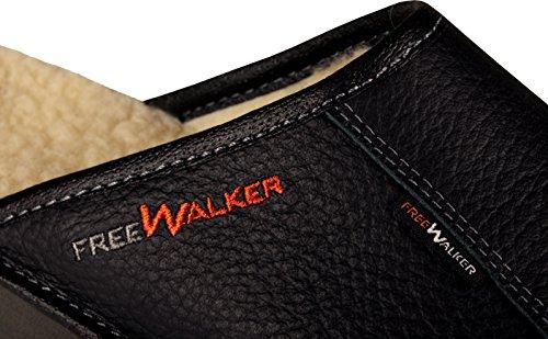 FreeWALKER ® | 100% Echtes Leder, 100% Schafwolle | Herren Hausschuhe Schwarz