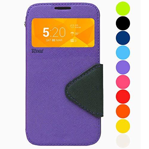 Roar Galaxy Note 8 Tasche Klapphülle Hülle Handyhülle Flip Case mit Fenster, Premium Etui Schutzhülle geeignet für Samsung Galaxy Note 8, Violett Lila