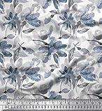 Soimoi Blau Seide Stoff wild Blume Stoff Meterware 42 Zoll