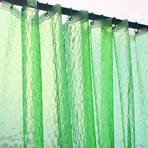 eforcurtain 3D Stil wasserdicht und nicht mehr Mehltau Duschvorhang Liner EVA Halbtransparent Bad Stall Vorhang als Stand Alone oder Liner verwendet, plastik, 3D Green, 72x78 Eva Cube