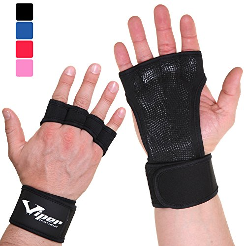 Trainingshandschuhe für Crossfit und Kraftsport Workout - Handflächenschutz Grip Handschuhe für Fitness, Pull Up Bar, Fitnessstudio, Krafttraining, Gewichtheben Training - Damen & Herren (Schwarz, L)