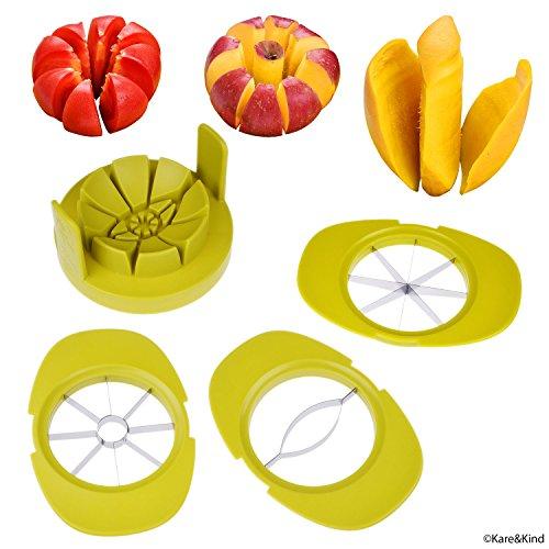 Cortadores de Manzana / Tomate / Mango - Juego de 3 - La Base Robusta Mantiene las Frutas / Vegetales en su Lugar - También Mantiene Los Cortadores Organizados - Hojas Afiladas de Acero Inoxidable - Rápido - Fácil