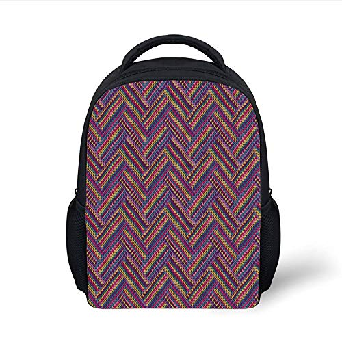 Kids School Backpack Geometric,Crossed Striped Zig Zag Chevron Pattern Knitted Effect Colorful Digital Print,Multicolor Plain Bookbag Travel Daypack (Zig Zag Roller)