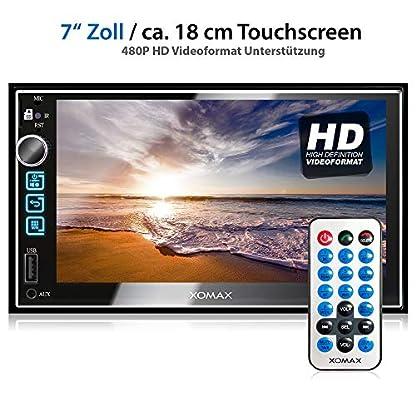 XOMAX-XM-2V753-Autoradio-mit-7-Zoll-18cm-Touchscreen-Bildschirm-I-Bluetooth-Freisprecheinrichtung-I-7-Beleuchtungsfarben-I-FM-AUX-SD-USB-I-2-DIN