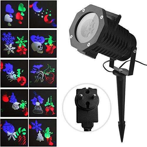 Projektor Licht Außen Fochea LED Gartenstrahler Set, LED Außen Strahler, Weihnachten LED Projektionslampe Effektlicht Projektor Lichter 10 Muster für Weihnachten Halloween Aussen Innen