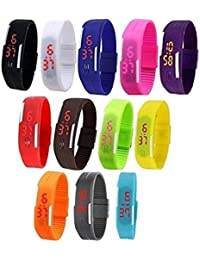 LEMONADE - Pack Of 12 - Multicolor Unisex Digital LED Band Wrist Watch For Boys, Men, Girls, Women