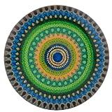 Morella Unisex Glas Click-Button Druckknopf Aztekenmuster blau grün