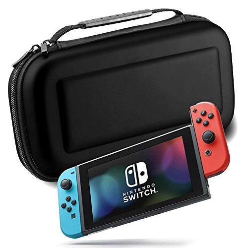 Schwarz Konsole Warenkorb (xfuny Nintendo Schalter aus PU Travel, der Case Eva Hard Shell Tasche mit Elastic Band und Speicherung Fach und Karte Slots für Schalter Host Schwarz)