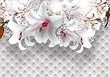 Fototapete Rot Lilien Blumen Polster Luxuriös Perlen XL 350 x 245 cm - 7 Teile Vlies Tapete Wandtapete - Moderne Vliestapete - Wandbilder - Design Wanddeko - Wand Dekoration wandmotiv24