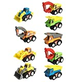 9 Pcs Mini Plastic Pull-back and Go Car Model Toy Sets Classic Construction Team Vehicle Play Push N Go Trucks Dumpers Toy for 3 Year Olds