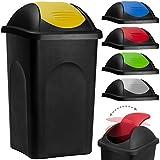 Stefanplast® Abfalleimer mit Schwingdeckel 60L schwarz/gelb 68x41x41cm - Mülleimer Abfallbehälter Papierkorb made in Italy