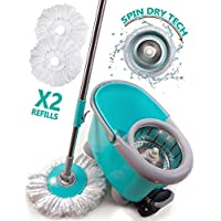 Shoof Spin Mop & Bucket Floor Cleaning System Industrial & Home Cleaning Supplies - 360° Stainless Steel Spin Mop Pole, Stainless Steel Mop Bucket with Wringer,2 Machine Washable Microfiber Mop Heads