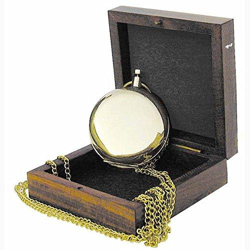 Kompass in Taschenuhrform Messing mit Kette und Holzbox Messingkompaß