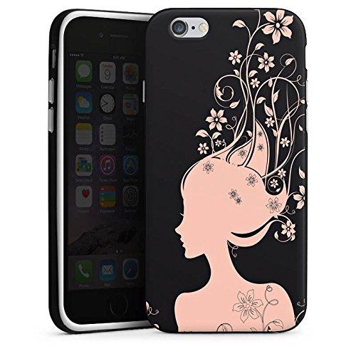 Apple iPhone 5s Housse étui coque protection Femme Femme Fleurs Housse en silicone noir / blanc