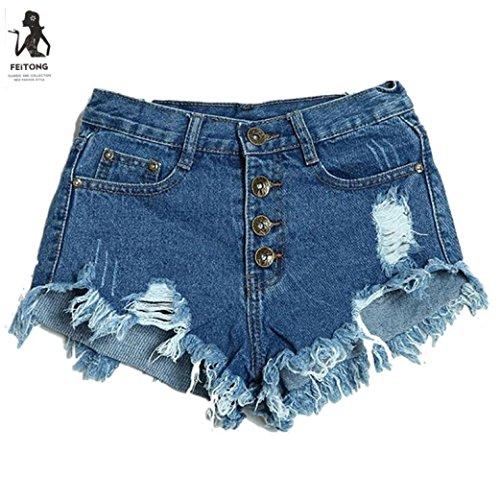 Btruely Shorts Damen Sommer Jeans Hhigh Waist Shorts Damen Kurz High Waist Skinny Jeans Sommer Blau Schwarz Weiß (Asia Größe M, Blau)