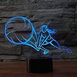 3D Playback Led Pallavolo Led Lampada Da Tavolo Usb Volley Machine Night Light Colorful Sleeping Lights Bambini Camera Da Letto Decorazione Regali Sportivi