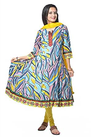 Turquoise Leheriya Printed Rayon Kurti