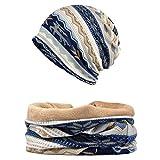 Snyemio Cappello Sciarpa Donna, 2 Pezzi Inverno Caldo Maglia Cotone Beanie Berretto Sportivo con Sciarpa Set