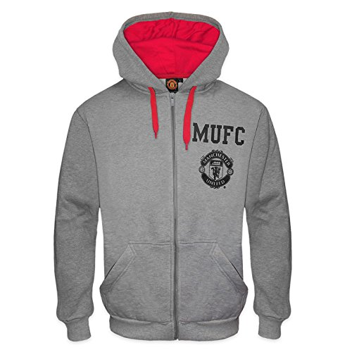 Manchester United FC - Herren Fleece-Hoody mit Grafik-Print - Offizielles Merchandise - Geschenk für Fußballfans - Grau / Rot - S - Manchester Pullover United