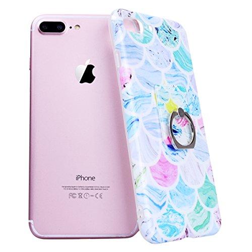 GrandEver iPhone 8 Plus Hülle Weiche Silikon mit Ring Ständer Halter Marmor Muster Handyhülle TPU Bumper Schutzhülle für iPhone 8 Plus Rückschale Klar Handytasche Anti-Kratzer Stoßdämpfung Ultra Slim  Farbe