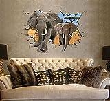 3D Wandsticker Elefanten Wandbilder Wandtattoo selbstklebend Dekoration im Haus für Tier Fans