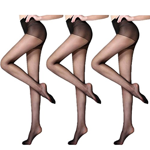 Womens Sheer Tights - Pantyhose For Women, Classic Black Sexy Full Foot Soft Elastic Ladies Tights, Anti-Hook Transparent Tights