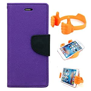 Aart Fancy Diary Card Wallet Flip Case Back Cover For Sony Xperia C5 - (Purple) + Flexible Portable Mount Cradle Thumb Ok Stand Holder By Aart store