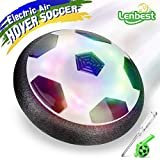 Lenbest JT811 Kids Air Power Hover Ball, Children Training Football Indoor Outdoor Disk Soccer Games with Soft Foam Bumpers and Colorful LED Lights - Black White